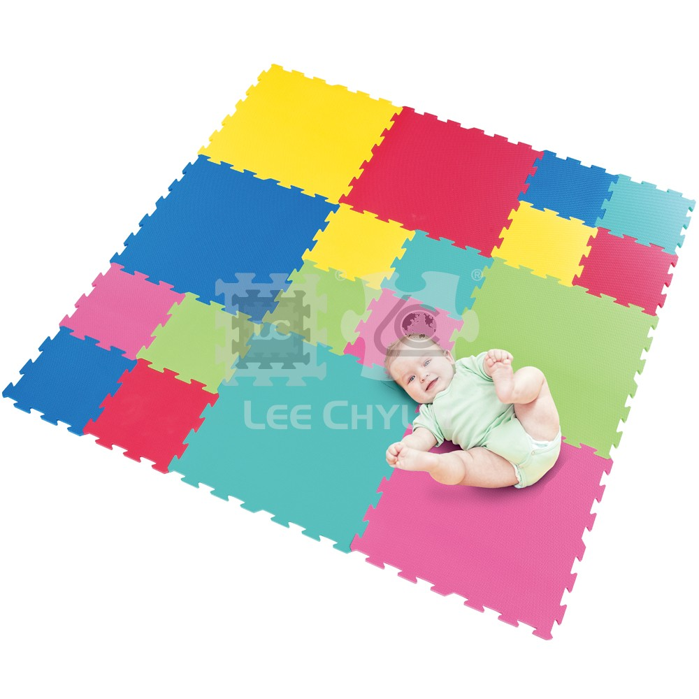 6 pcs big 12 pcs small color plain floor mat